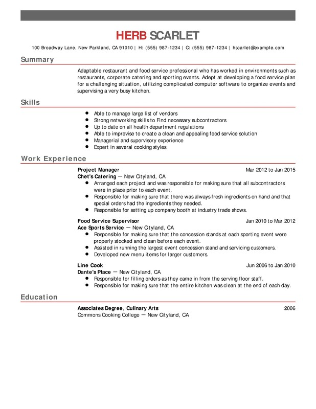 restaurant food service chronological resume samples examples format templates help Resume Summary For Resume For Food Service