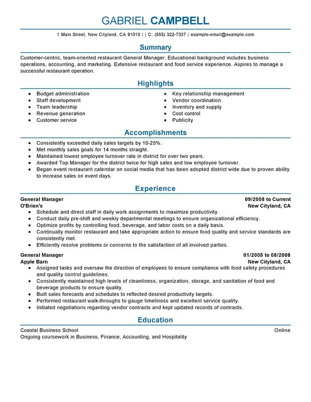 restaurant general manager resume examples free to try today myperfectresume hotel Resume Hotel General Manager Resume Template
