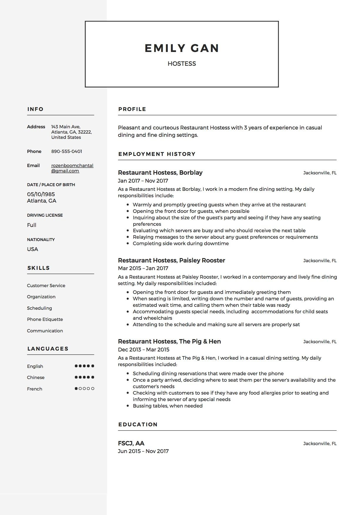 restaurant hostess resume sample template example guide job samples examples types of Resume Hostess Job Resume Examples