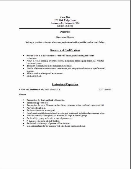 restaurant service resume occupational examples samples free edit with word for job Resume Resume For Restaurant Job