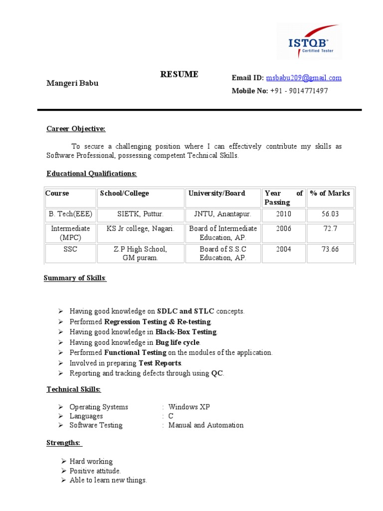 resume babu fresher istqb certified software testing bug tester with logo office Resume Istqb Certified Tester Resume With Logo