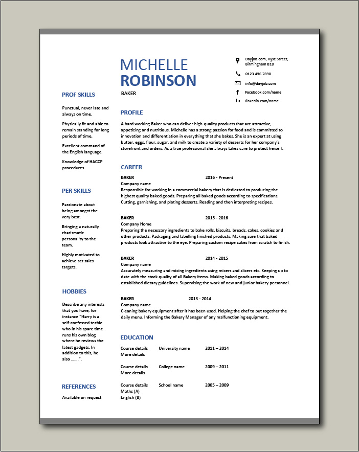 resume bakery bread job description templates sample example skills finish your with Resume Finish Your Resume With A Short Professional Summary