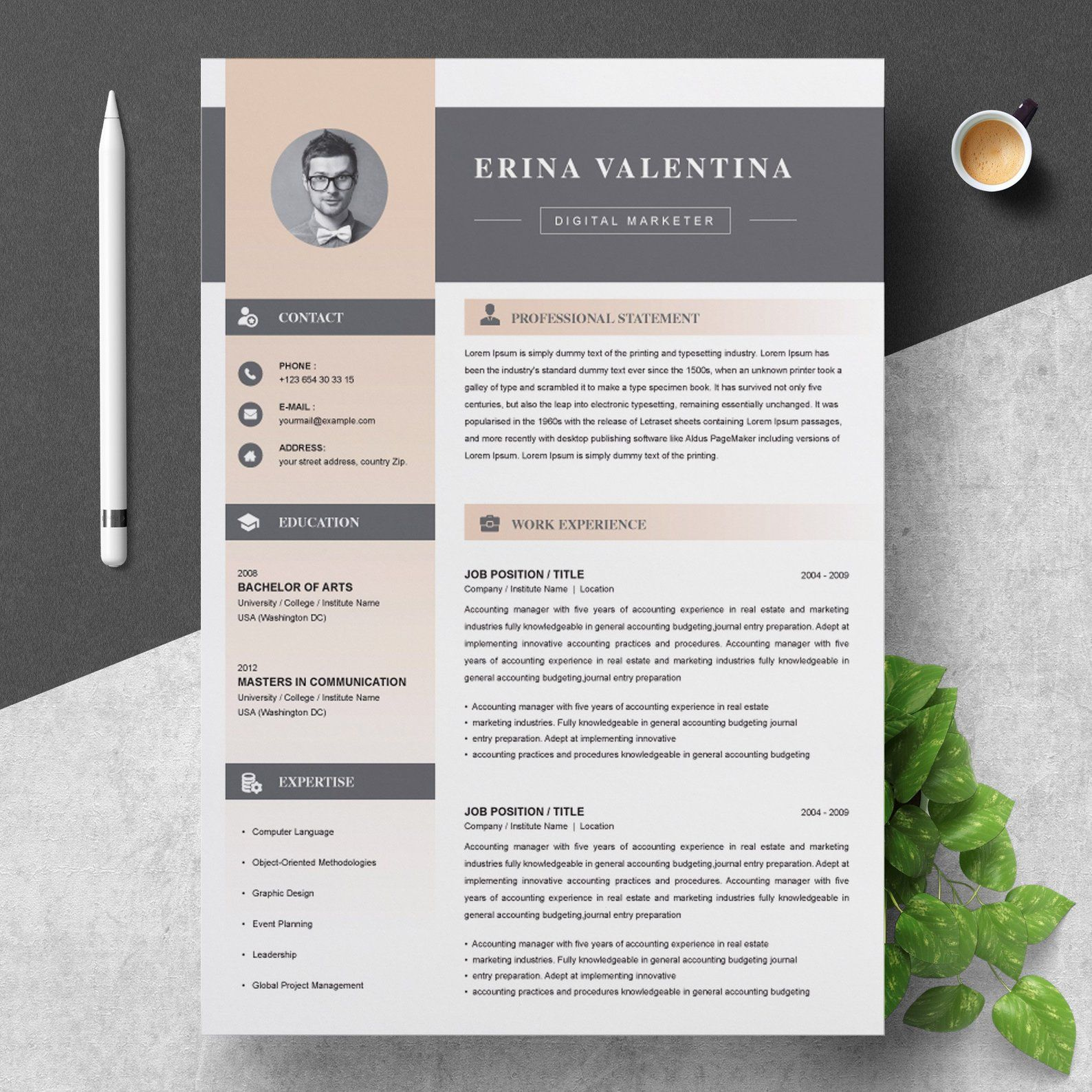 resume cv template with cover letter etsy design free awesome templates microsoft word Resume Free Awesome Resume Templates Microsoft Word