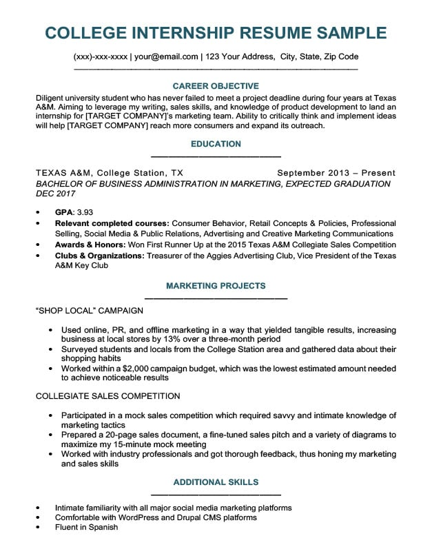 resume education section to on your college senior samples student for internship sample Resume College Senior Resume Samples