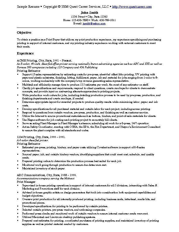 resume example examples free samples job print production linux system administrator Resume Print Production Resume Examples