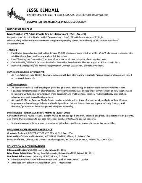resume example in teacher teaching examples private music best for any job minimalist Resume Private Music Teacher Resume