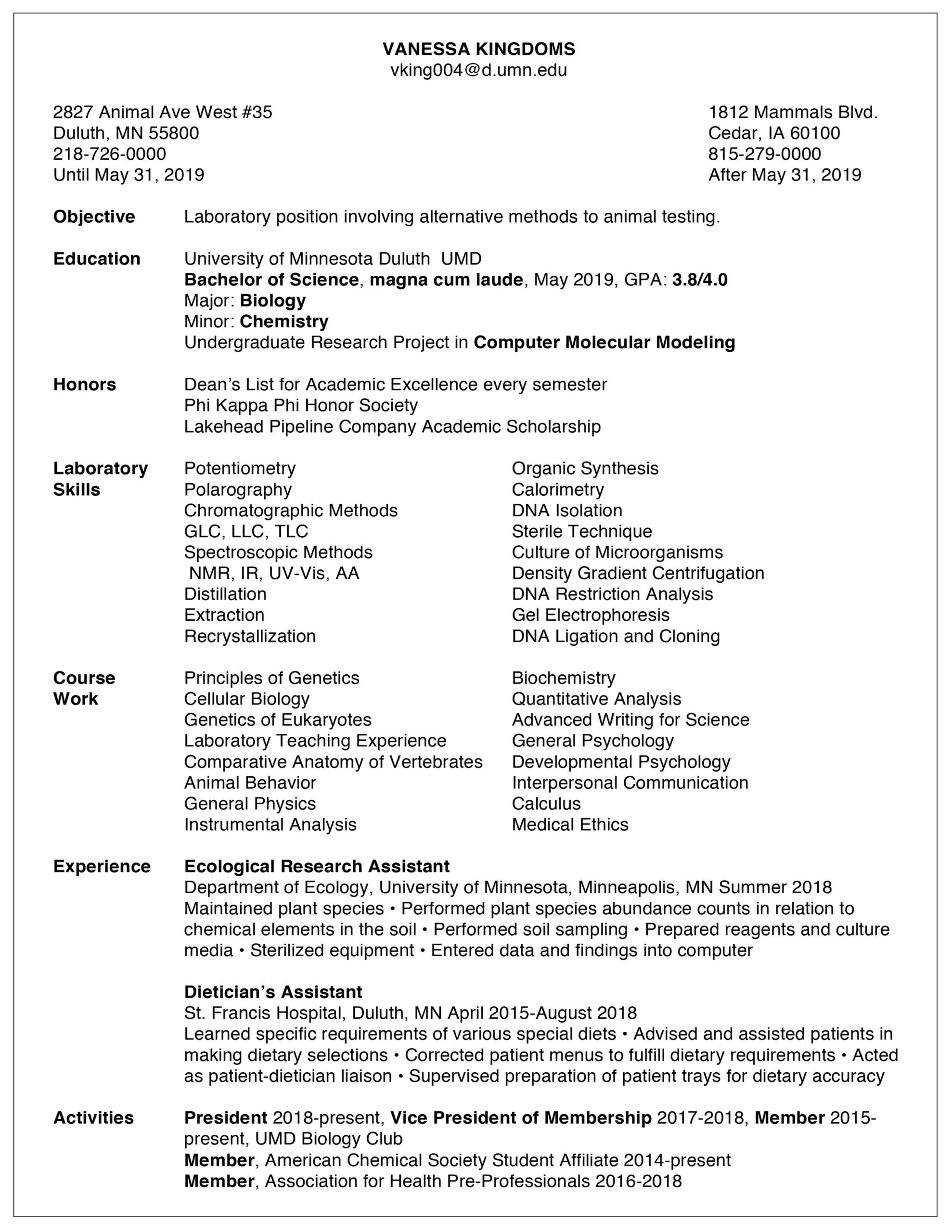 resume examples career internship services umn duluth requirements vanessa kingdoms Resume Resume Requirements 2019