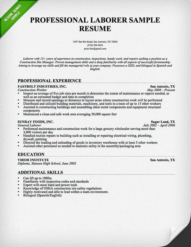resume examples construction professional samples skills good open office templates Resume Good Construction Resume