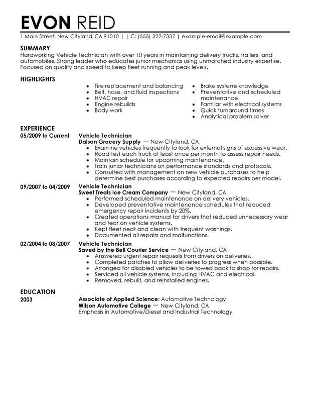 resume examples diesel mechanic in objective good for warehouse masters program paralegal Resume Mechanic Resume Objective