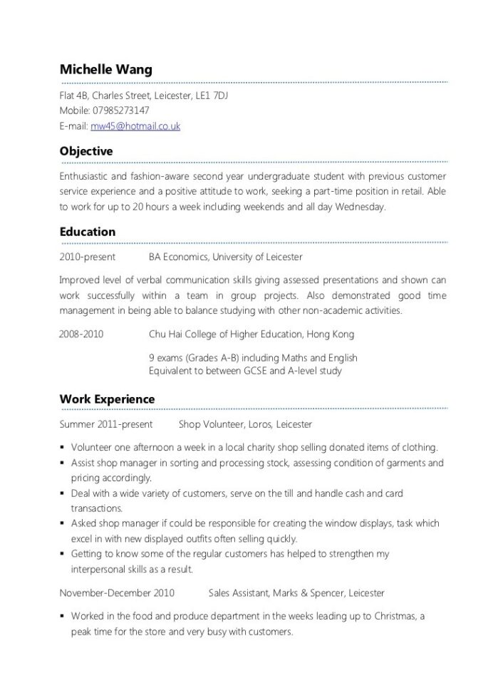 resume examples for teenager first job time example parttime cv cosmetology baseball Resume First Time Resume Examples