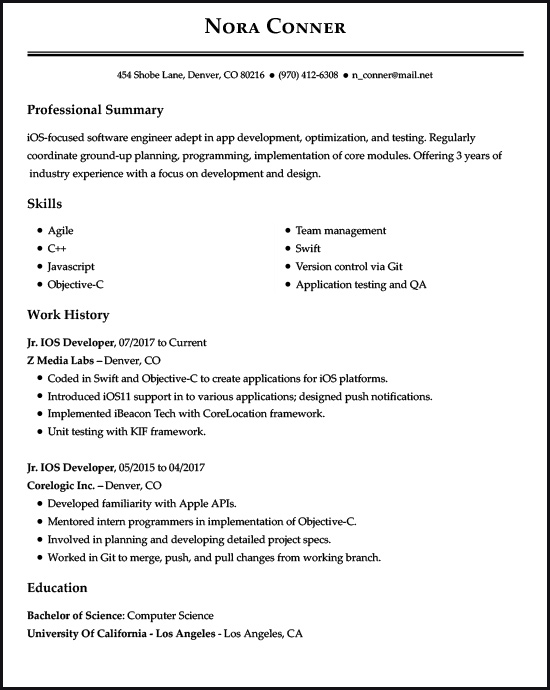 resume examples for the top gen jobs livecareer best objectives ios developer example Resume Best Objectives For Resume 2017