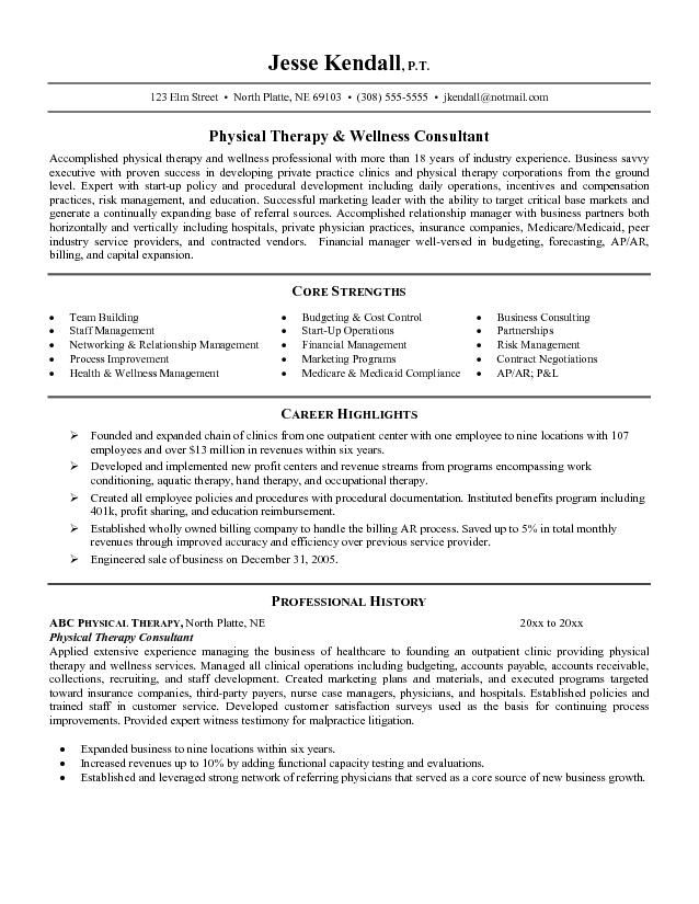 resume examples physical therapist assistant occupational therapy electrician objective Resume Physical Therapist Resume