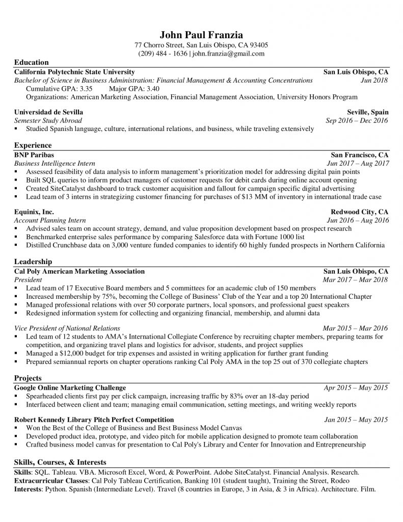resume examples templates orfalea student services business franzia john 791x1024 coach Resume Business Student Resume