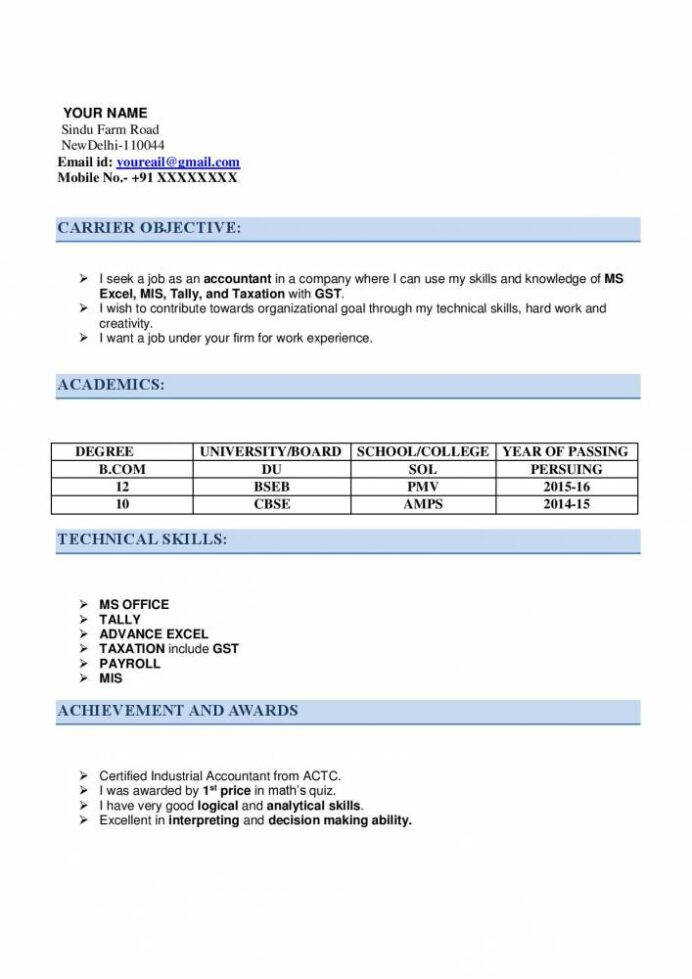 resume for articleship with examples now samples projects chartered accountant format Resume Chartered Accountant Resume Format Download