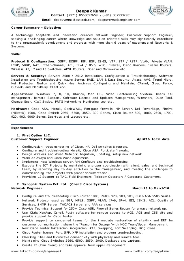 resume for network engineer l2 admin team leader system with ccna fresher summer job Resume Resume For Network Engineer With Ccna Fresher