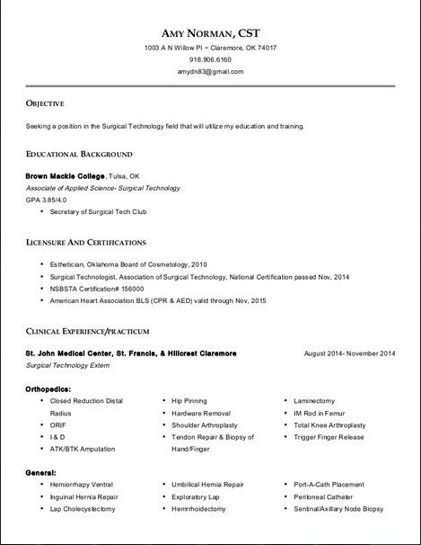 resume for surgical technologist all about templates tech examples certified samples Resume Certified Surgical Technologist Resume Samples