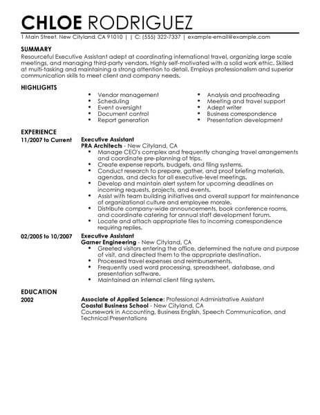 resume format executive assistant job examples samples summary administrative beginner Resume Administrative Resume Summary Examples
