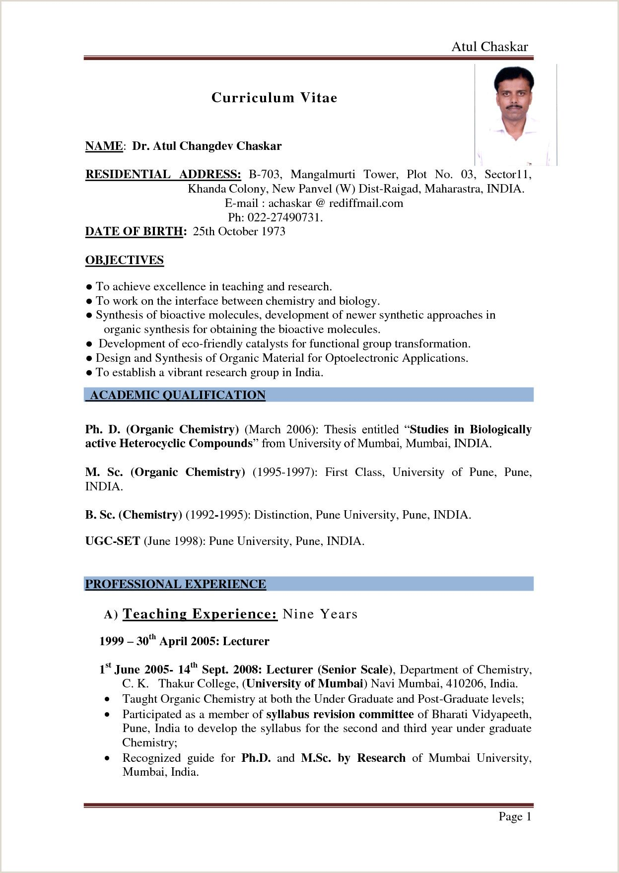 resume format for bsc chemistry freshers pdf best examples students sample chaplain Resume Resume Format For Bsc Students