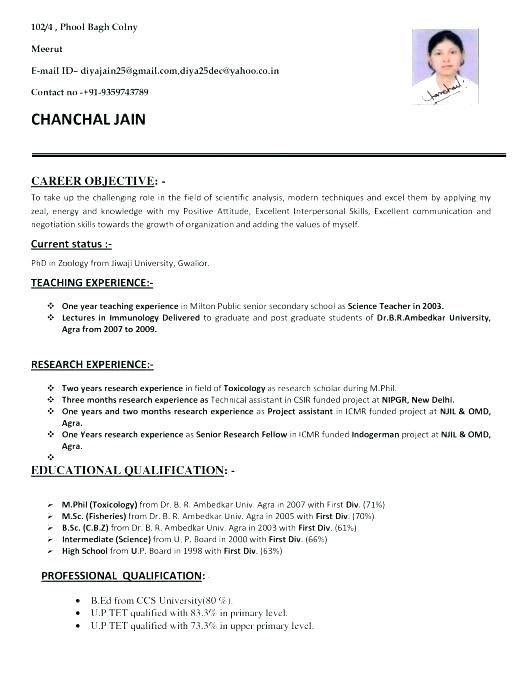 resume format for bsc zoology teacher template examples students mds nurse occupational Resume Resume Format For Bsc Students