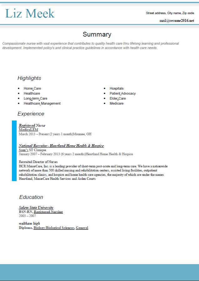 resume format for network engineer with year experience best registered nurse blue style Resume Network Engineer Resume With 2 Year Experience