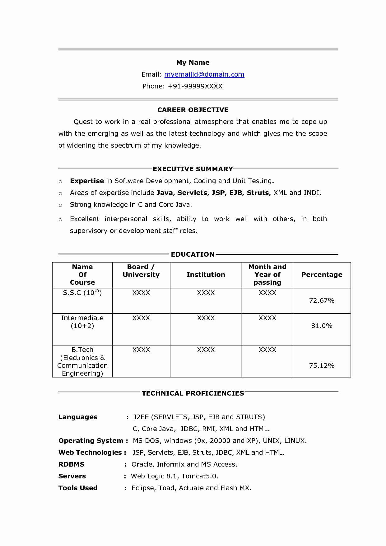 resume format for testing freshers best examples software fresher temp functional hybrid Resume Software Testing Fresher Resume Download