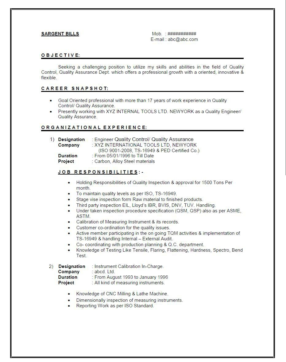 resume format for year experienced mechanical engineer it sample cover letter job quality Resume Quality Engineer Resume Download
