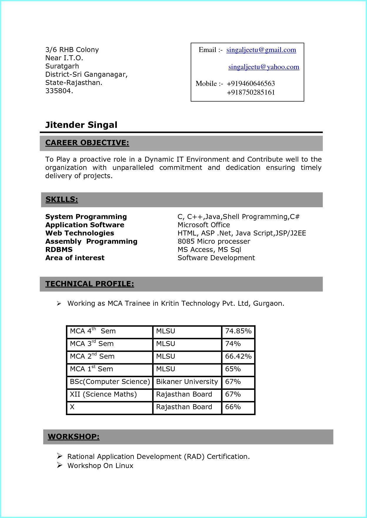 resume format in ms word for fresher mca students nurses of bsc objective marketing Resume Resume Format For Mca Students