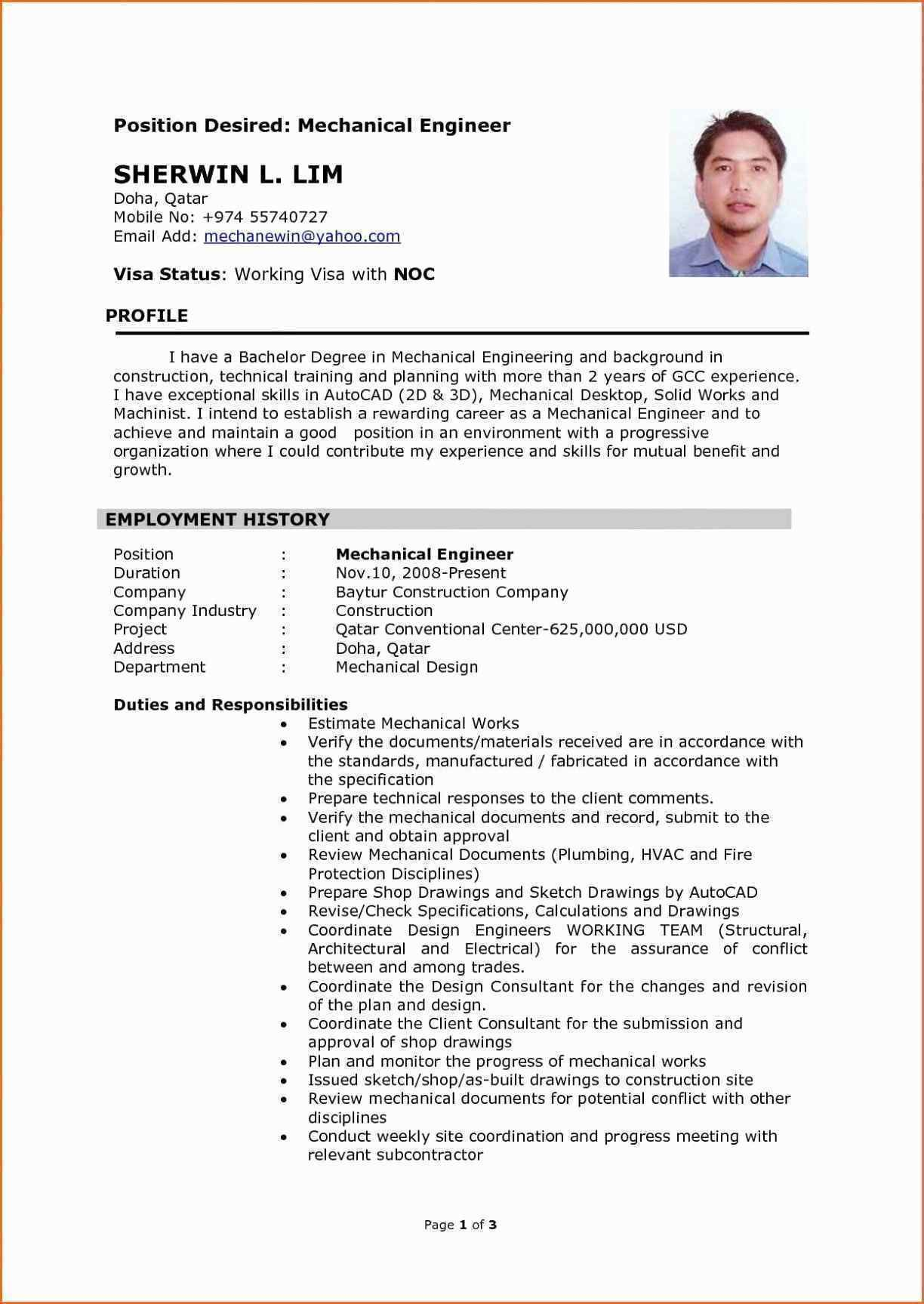 resume format mechanical engineer engineering examples template free objective for cruise Resume Mechanical Engineer Resume Template Free Download