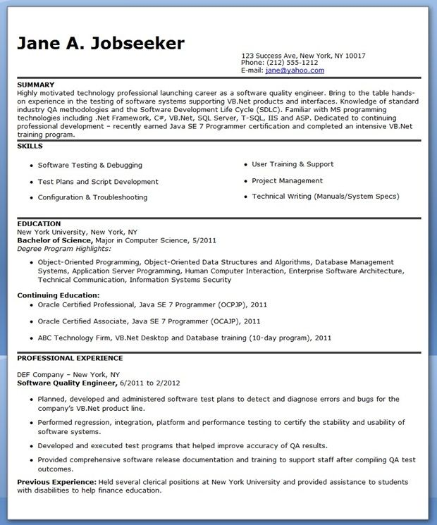 resume format quality engineer engineering templates examples creative powerpoint Resume Quality Engineer Resume Download