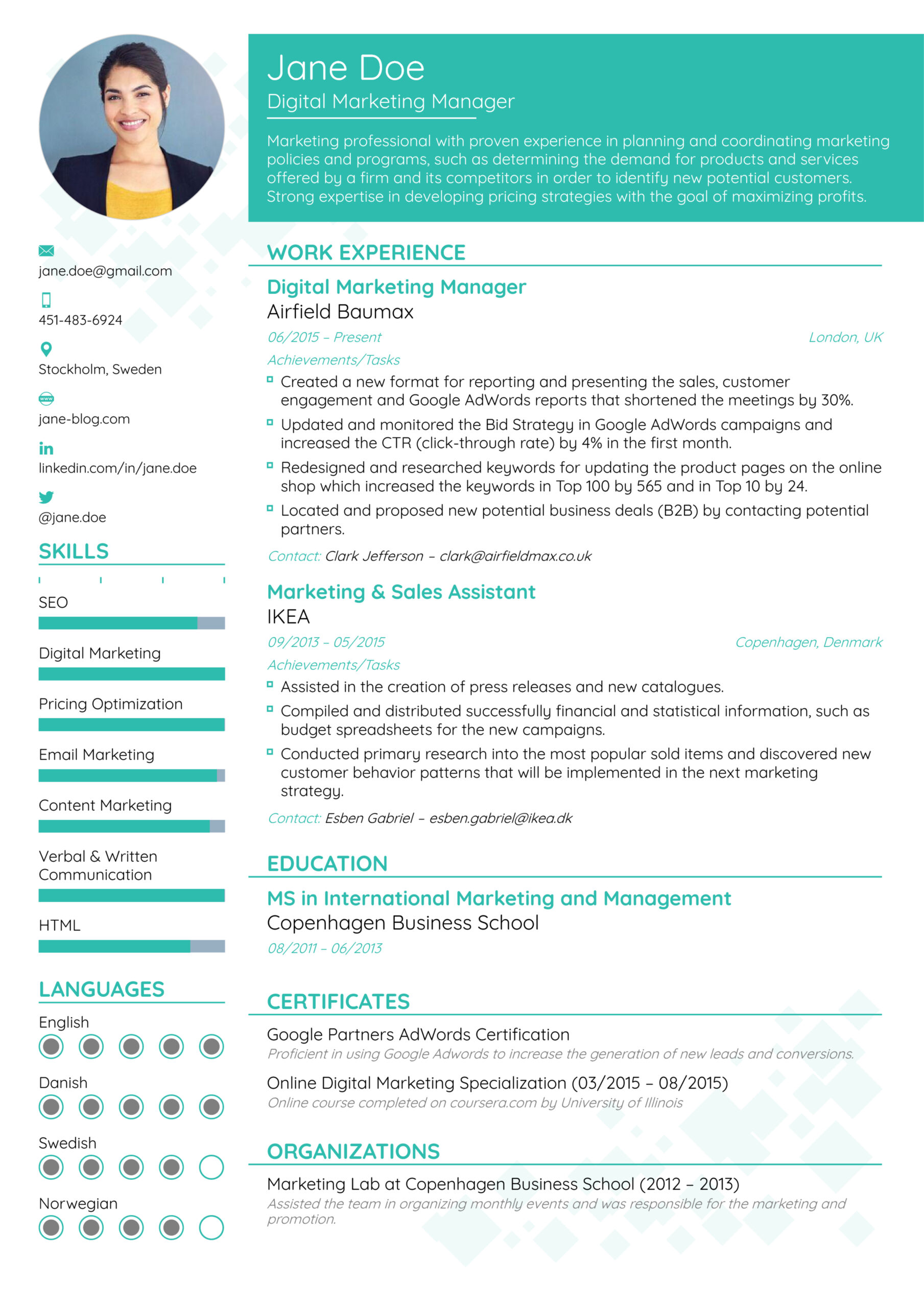resume format templates effective different types of styles description for nanny on Resume Effective Resume Format
