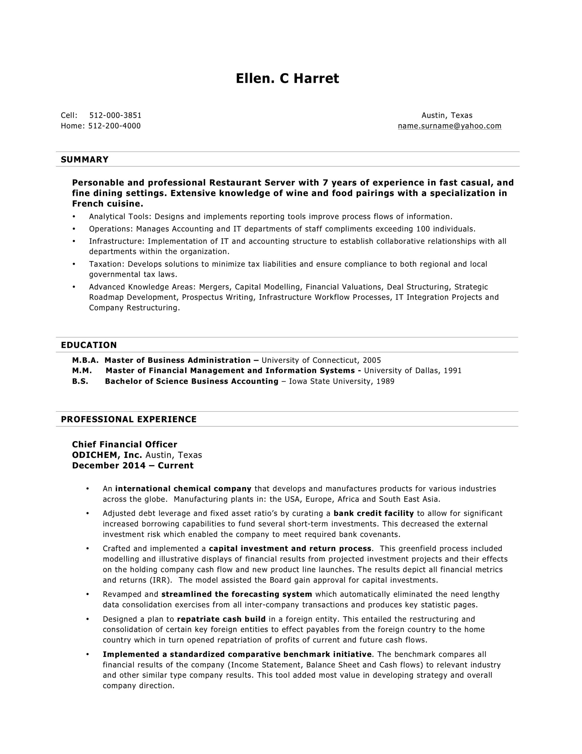 resume formats chronological functional combo summary format for server word template Resume Summary Format For Resume