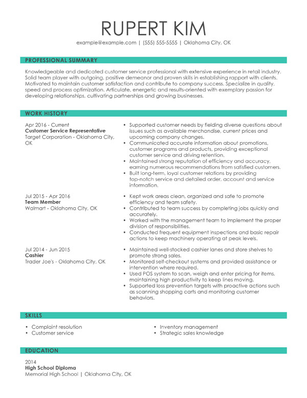 resume formats guide my perfect simple but effective chronological customer service Resume Simple But Effective Resume