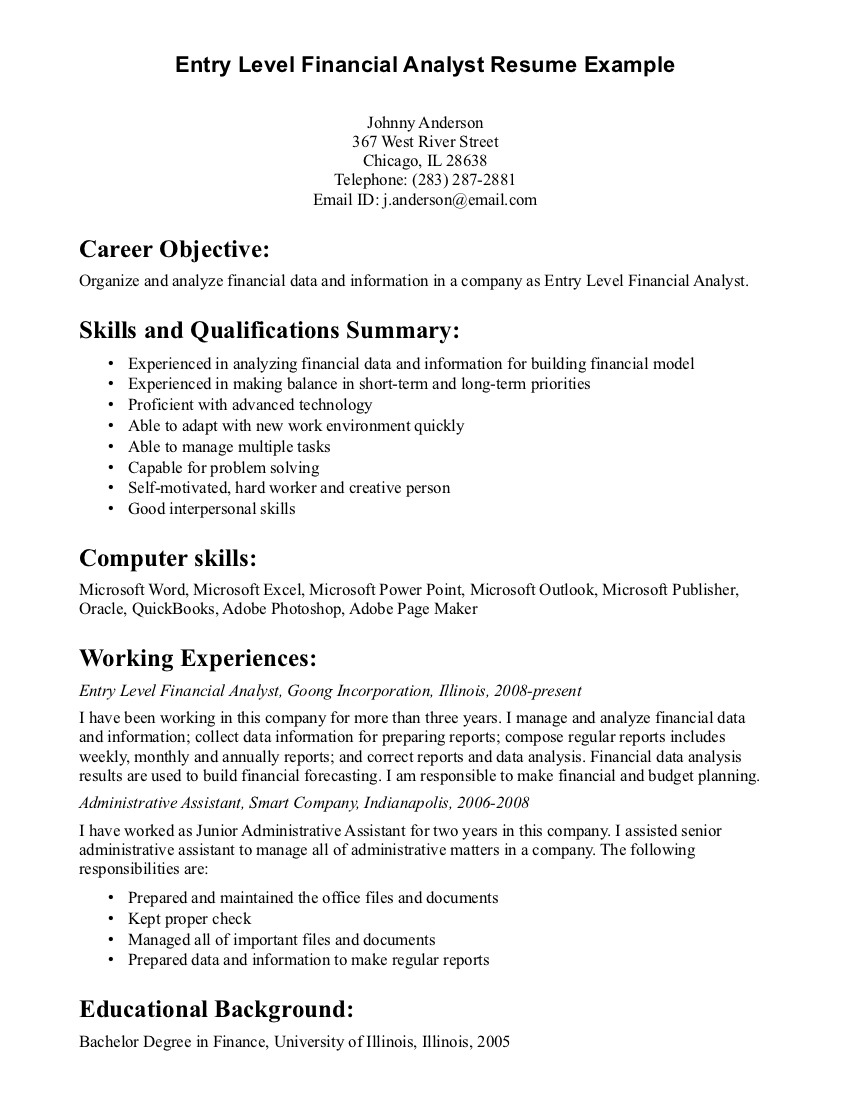 resume give an objective for resumes pdf interview questions letter format image Resume General Entry Level Resume Objective