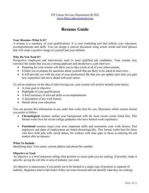 resume guide fashion institute of technology brief summary your background for entry Resume Brief Summary Of Your Background For Resume