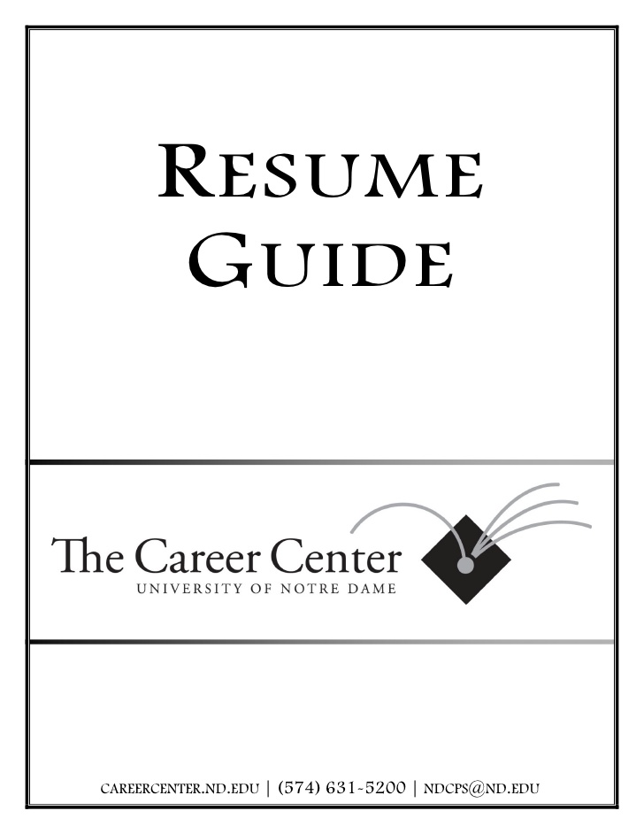 resume guide notre dame career center the music engineering internship software engineer Resume Notre Dame Career Center Resume
