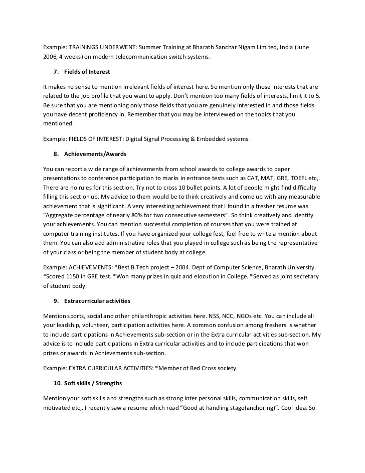 resume interests section personal on the ultimate guide for freshers rn template harvard Resume Personal Section On Resume