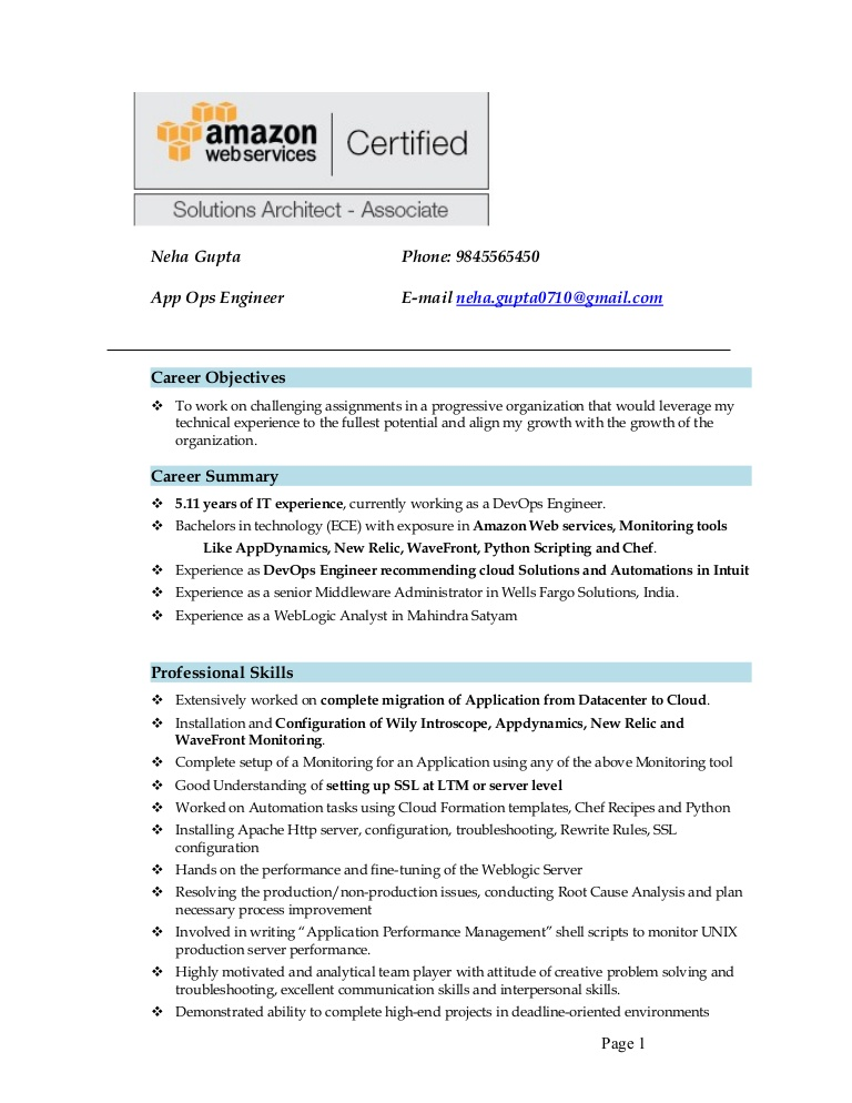 resume neha aws for year experience thumbnail perfect template cisco ise sample of Resume Aws Resume For 1 Year Experience