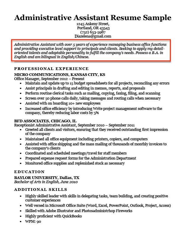 resume objective examples for students and professionals sample first job admin assistant Resume Sample Objective For Resume First Job