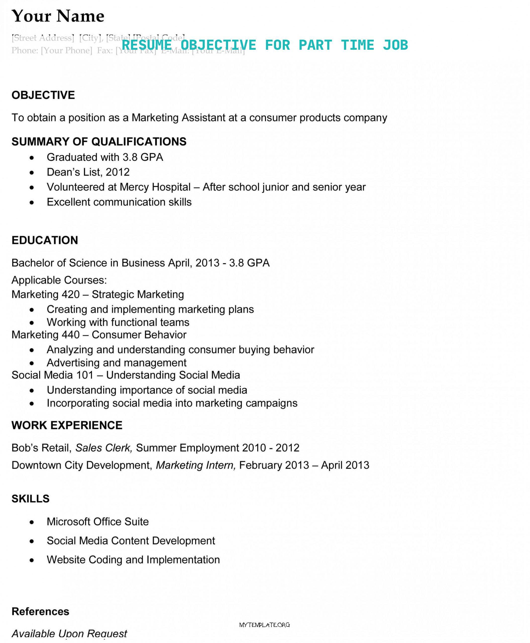 resume objective for part time job free templates media of goal school pupil pin now cost Resume Objective For Media Resume