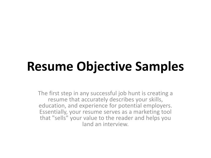 resume objective samples powerpoint presentation free id sample for first job mock Resume Sample Objective For Resume First Job