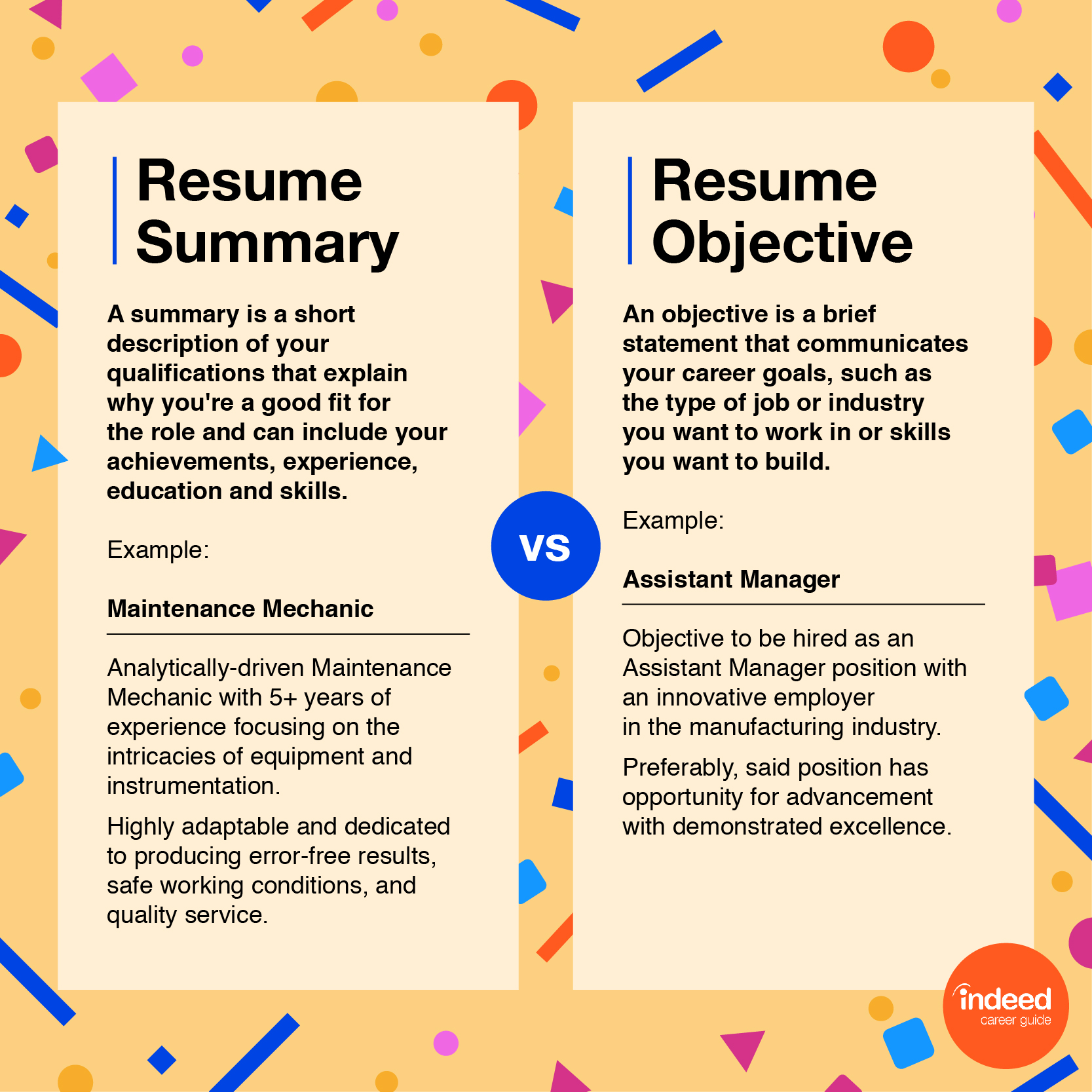resume objectives examples and tips indeed good career objective statement for v4 Resume Good Career Objective Statement For Resume