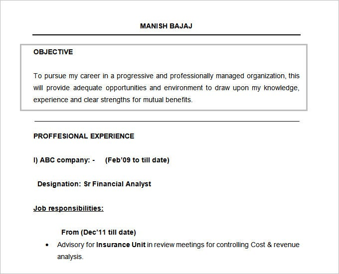 resume objectives pdf free premium templates best career for of fresher financial analyst Resume Best Career Objectives For Resume Of Fresher