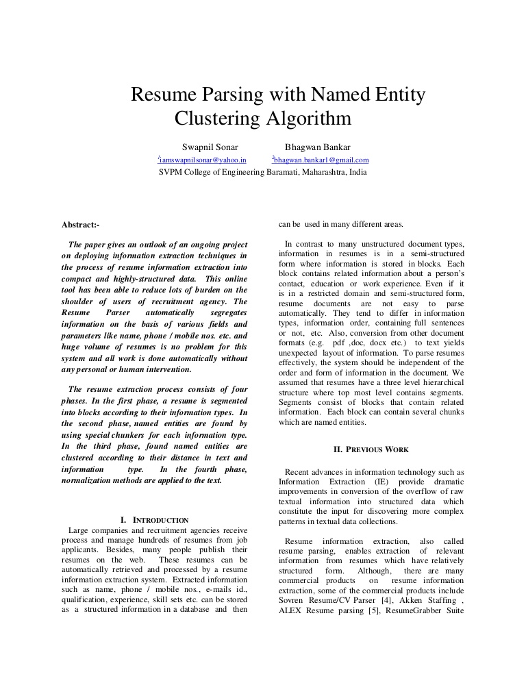 resume parsing with named entity clustering algorithm hireability parser Resume Hireability Resume Parser