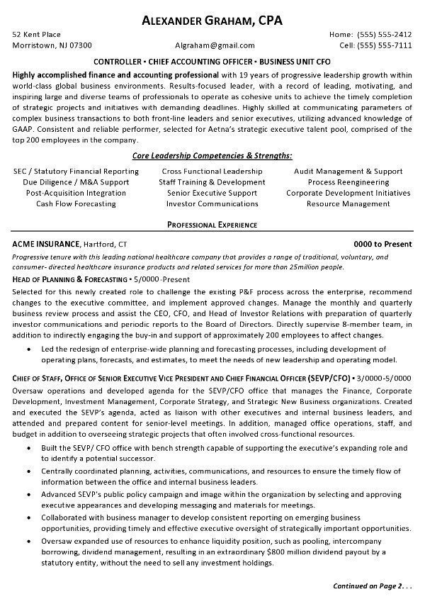 resume sample controller chief accounting officer business unit cfo career resumes Resume Controller Resume Examples