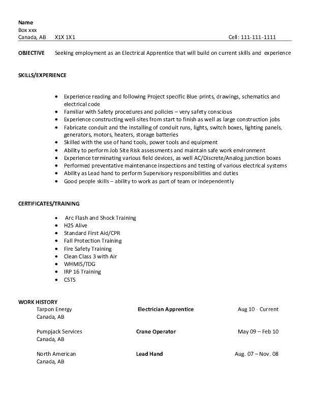 resume sample electrical apprentice examples free samples apprenticeship format modelo Resume Apprenticeship Resume Format
