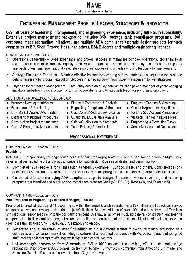 resume sample engineering management career resumes engineer objective examples pg1 text Resume Engineer Resume Objective Examples