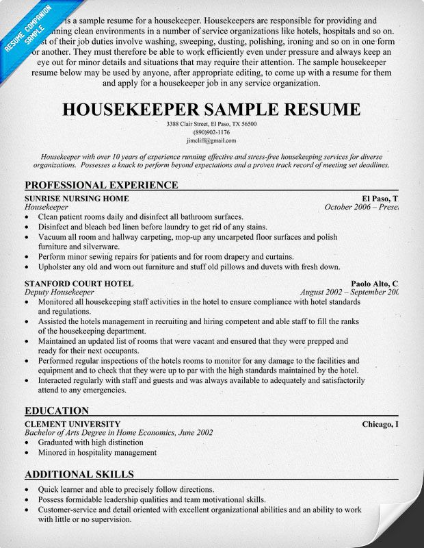 resume samples and to write companion job examples cover letter objective hospital Resume Hospital Housekeeping Resume Skills