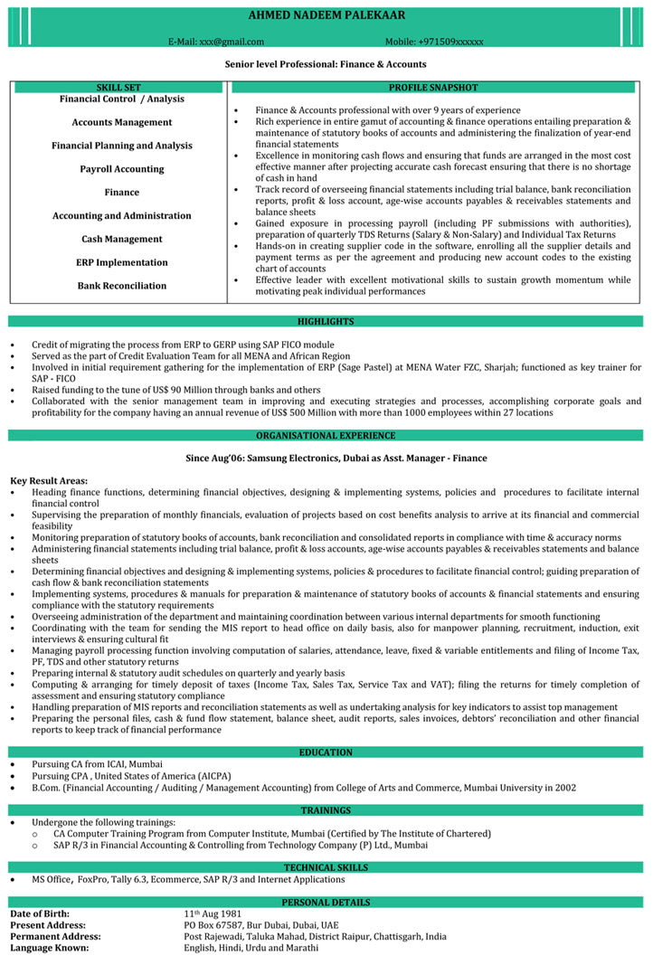 resume samples chartered accountant format naukri objective examples for software Resume Chartered Accountant Resume Format Download
