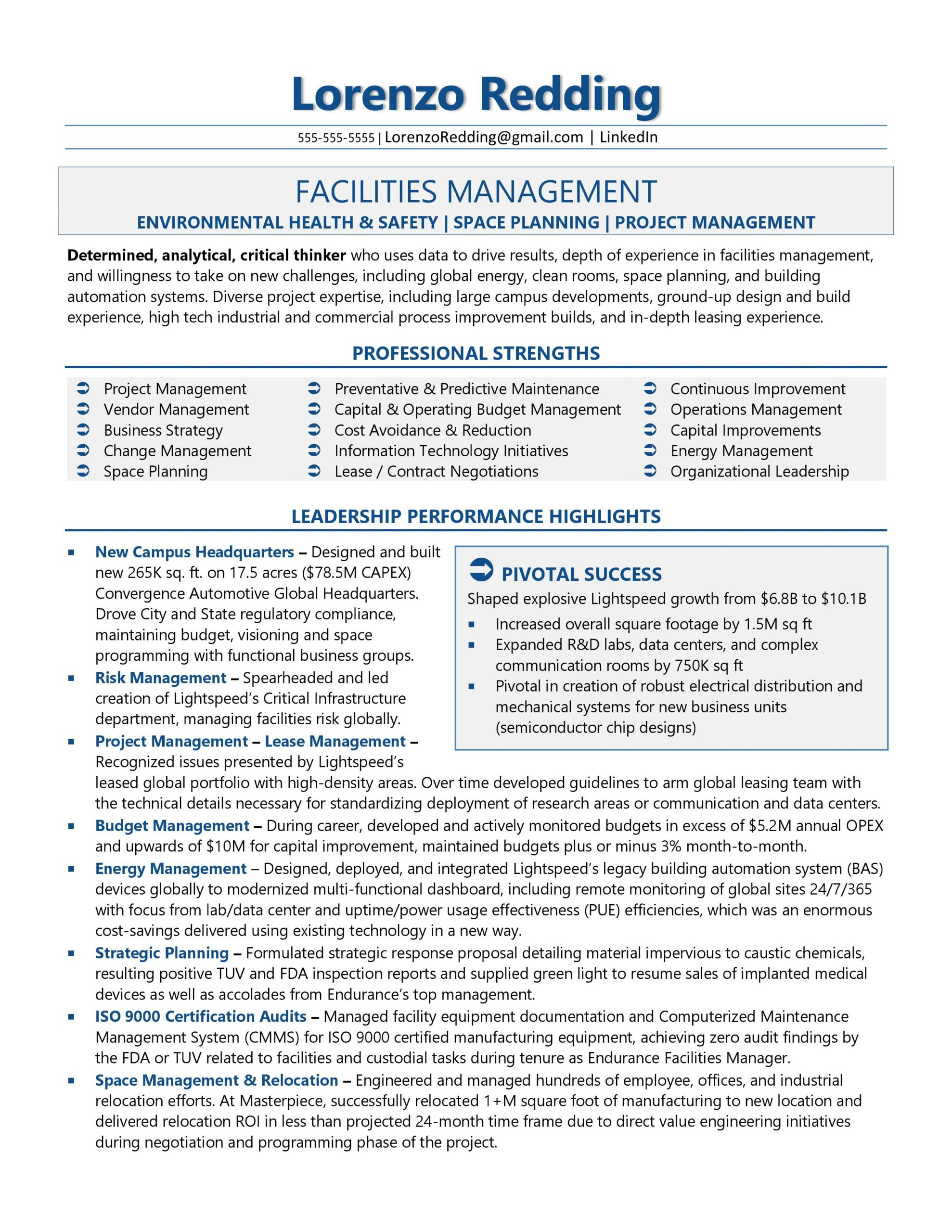 resume samples information technology examples director of facilities management sample Resume Information Technology Resume Examples 2019