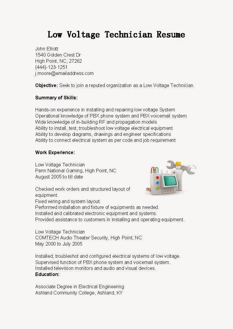 resume samples low voltage technician sample creative design services headline for your Resume Low Voltage Technician Resume Sample